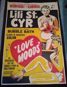 "Love Moods 1952 Vintage 1-Sheet Poster (27"" x 41"") Lili St. Cyr Burlesque Queen!"