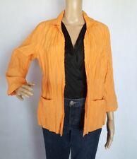 Chico's Crinkle Blazer Cardigan Open Front Sz 1/Sm Lined Peach Orange Cotton