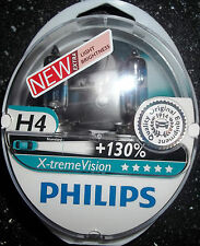 PHILIPS H4 XTREME VISION UPGRADE BULBS TWIN H4 X-TREME VISION H4+130%MORE LIGHT