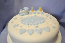 Handmade christening cake topper Train set with large plaque for Baby Boy / Girl