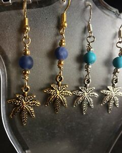 Marijuna Leaf Earrings Gold/Silver With Multiple Choices Of Stones