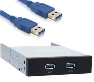 """SuperSpeed USB 3.0 Frontpanel 2 Port für 8,9cm / 3,5"""" Zoll Einbauschacht Gehäuse"""