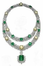 300Ct Cushion Cut Emerald Pearl Simulant Diamond Silver Gold Fns Choker Necklace
