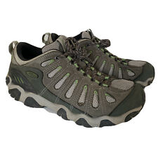 Mens Oboz Gray Green Leather Hiking Shoes Size 10.5