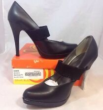 NEW GABRIELLA ROCHA Heels Size 10 Solid Black Faux Leather Slip On Strap Shoes