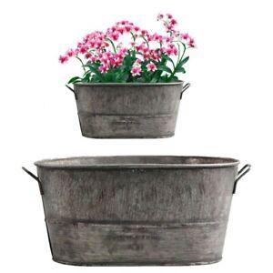 Vintage Oval Zinc Galvanised Metal Garden Planter-Flower Tub Pot Bucket