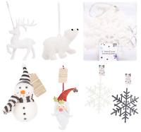 Hanging Xmas Tree Decoration White Glittered Polar Bear,Reindeer,Santa,Snowman