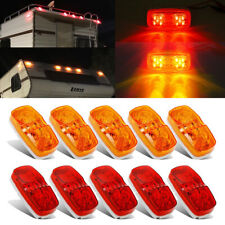 "5 Red 5 Amber 10-Led 4"" Side Marker Lights Camper Truck Trailer Rv Running Lamp"