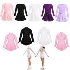 Kids Girls Floral Lace Skating Dance Dress Ballet Leotard Dress Sport Costume
