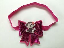 Cute!!!!! Hot Pink Monkey Baby Girl Elastic Headband Hair Bow.