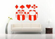 Wall Vinyl Sticker Decals Mural Room Design Poker Card Game Stamp Money  bo2046