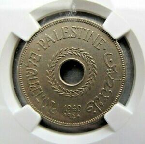 Palestine KM5 20 Mils 1940 NGC AU 55.  Scarcer year !