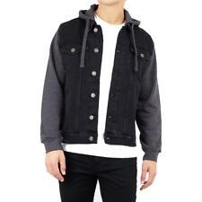 Brave Soul Hudson Jeans Veste Capuche,Contraste Manches,Poche , Noir, Taille XL