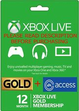 Xbox One 12 Month + EA Access 1 Year Xbox Live Gold Membership -READ DESCRIPTION