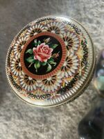 """Vintage Cookie Tin Made In England Embossed ROSE Floral 5"""" MINTY AND CLEAN"""