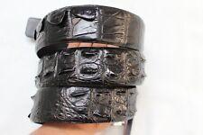 WITHOUT JOINTED - Black Alligator Crocodile Leather SKIN MEN'S Belt - W 4cm