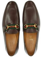 NEW GUCCI MEN'S BROWN LEATHER HORSEBIT WEB LOAFERS DRESS SHOES 7/US 7.5