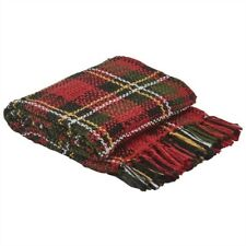 "Park Designs Touch of Tartan Throw Blanket 50"" x 60"" Christmas Black Red Yellow"