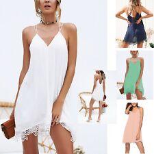 Vestito Mini Copricostume Orlo Pizzo Donna Tinta Unita Woman Lace Dress 110372 P