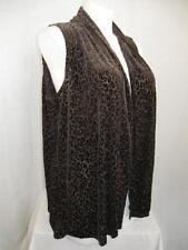 Susan Graver Size 3X Sleeveless Burnout Design Cascading Open Front Vest - Brown