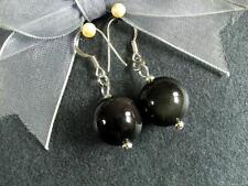 Gemstone Earrings Rainbow Obsidian 14mm Round Beads 925