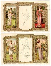 POSTCARDS (2) GERMAN ART NOUVEAU FOUR SEASONS 1900 SIGNED MULLER-SCHEESSEL