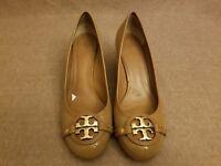 Tory Burch Women Brown Patent Leather Pumps Heels Big Logo Shoes Size 11 M