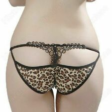 Ladies Stunning Open Back Smooth Sheer Mesh Leopard Print Brief with Faux Gems