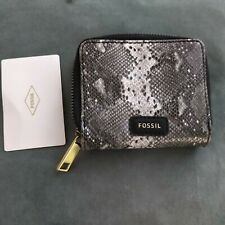 £45 FOSSIL Evelyn  snake skin Leather Bifold   Wallet purse BNWT