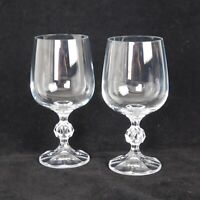 """Lot of 2 Claudia Crystal 6 5/8"""" Ball Stem 12 oz Wine Water Goblet Cocktail Glass"""