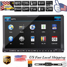 """7"""" HD Touch Screen Double 2DIN Car GPS Stereo DVD Player Bluetooth Radio+Camera"""
