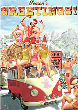 Gay Lesbian LGBT Holiday Cards Max Hern 3.5 x 5 Campy Retro Christmas Party Bus