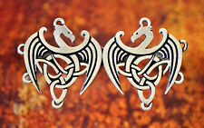 Celtic Dragon Cloak Clasp -Fine Pewter - Celtic Medieval Cape Clasp Dragon Clasp