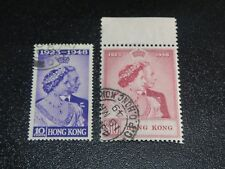 Hong Kong 1948 Sc#178-79 Kgvi Silver Wedding Marginal Set Vf Used,Scv$136