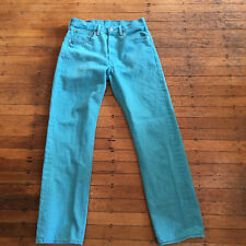 "LEVI'S 501XX Turquoise Jeans Men's 32"" W 34"" L ( 32"" W 31"" L Measured ) GUC"