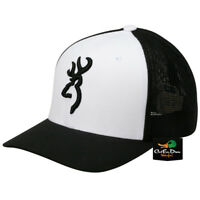 NEW BROWNING COLSTRIP MESH BACK FLEX FIT BALL CAP HAT BUCKMARK LOGO WHITE