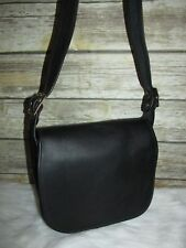 Vintage Black Front Flap Genuine Leather Saddle Purse Shoulder Bag Tote