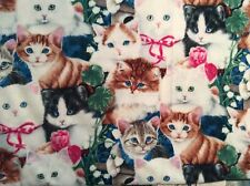 "Cute kitty cat flower fleece fabric, 60"" wide, sold BTY"