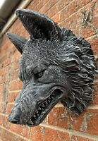 STONE GARDEN LARGE DETAILED WOLF HEAD WALL HANGING PLAQUE ORNAMENT