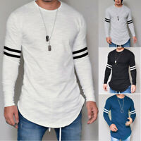 Mens Long Sleeve Muscle T-shirt Casual O Neck Slim Fit Tops Blouse Basic Tee NEW