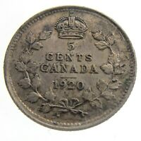 1920 Canada 5 Cents Small Silver Circulated George V Five Cents Coin Q088