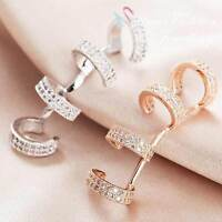 18K White & Rose Gold Plated Simulated Diamond Studded Fashion Ear Cuff Earring