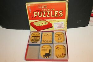 1940 VINTAGE A.C. GILBERT HALL OF SCIENCE BOX OF 5 PROBLEM PUZZLES
