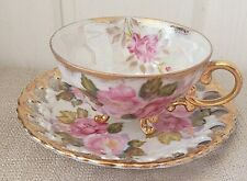 Shafford Japan Stunning Footed Tea cup and Saucer Huge Pink Roses Gorgeous!