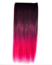 New Hot Ombre Colorful Clip In Hair Piece Hair Extension Purple to Rose Red
