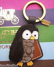 Coach Leather Haircalf Fur Owl Key Chain Fob Charm Keychain RARE