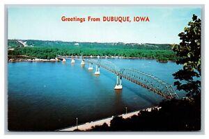 Dubuque, IA, Greetings from, Iowa-Wisconsin Bridge, Mississippi River, Postcard