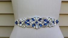 Wedding Belt, Wedding Sash, Bridal Sash, Rhinestones Sash, Something Blue Sash