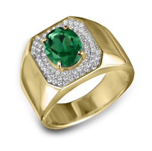 18K Solid Yellow Gold Natural Emerald & White Topaz Gem Stone Men's Ring