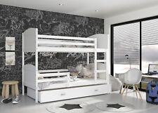 New Modern Wooden BUNK BED For Children Kids +Mattresses +Drawer +FREE DELIVERY
